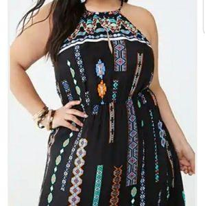 Forever21+ black colorful print highneck maxi dres